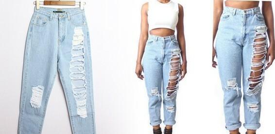 484941194a7 Скидка 58% На «рваные» джинсы с высокой талией. Модель 2015! Актуальный  тренд этой весны!