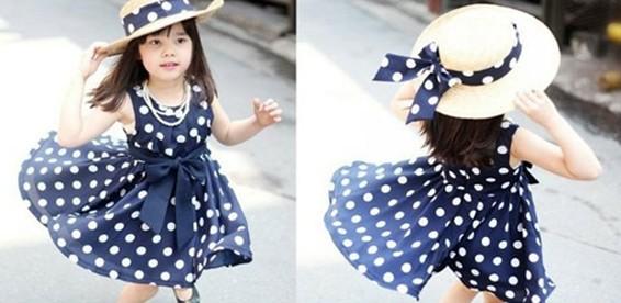Яркое цветное нарядное платье в горошек для девочки 2-3,5 лет - купить