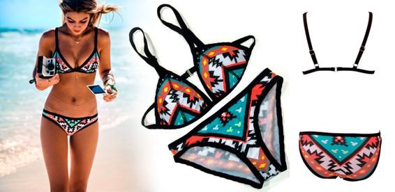 11336cb719f84 Скидка 50% На классический купальник бикини с геометрическим рисунком.  Яркие цвета для жаркого лета!