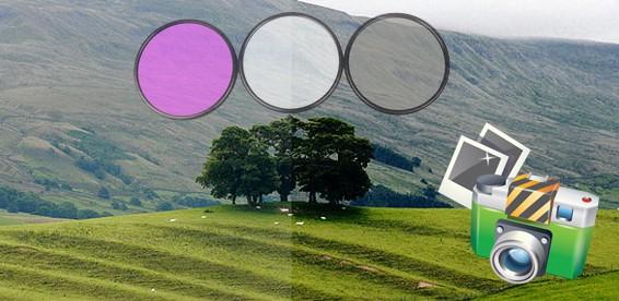 На набор из трех светофильтров для зеркальных фотокамер Canon / Nikon / Sony в кожаном чехле.