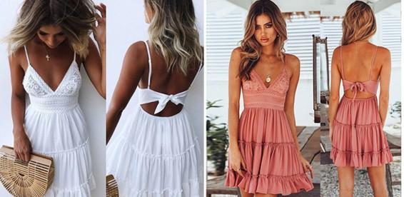 9ed493ebafa613f Скидка 50% Женское богемное пляжное платье с глубоким v-образным вырезом.  Повседневная роскошь!