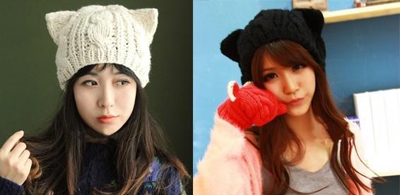купить женскую вязаную шапочку с кошачьими ушками через интернет со