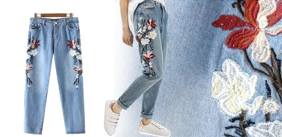 8cb18bc0441cd Скидка 50% На женские джинсы с цветочной вышивкой. Безусловный хит  последние нескольких сезонов!