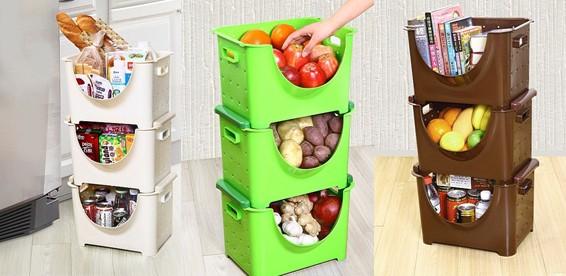 Пластмассовые корзины для хранения фруктов и овощей (3 шт): .