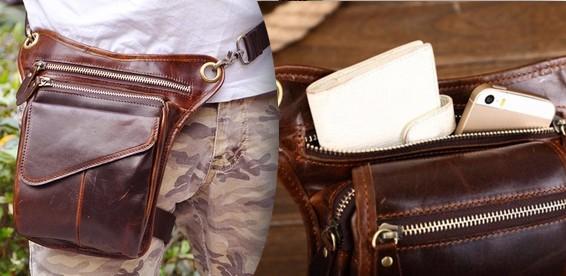 717eed6a876b Скидка 58% На мужскую кожаную сумку с креплением на ногу и пояс. Удобный  способ ношения личных вещей!