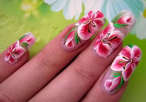 Фото роспись цветов на ногтях фото